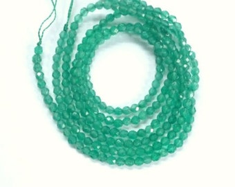3mm  Green Onyx faceted  round beads