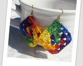 Not your grandmothers Granny Square crocheted earrings