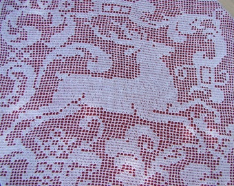 Leaping deer, graceful buck filet crocheted table runner-READY TO SHIP