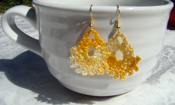 Yellow wheat crochet fan earrings