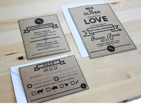 DIY printable - Kraft simplicity invitation set - INSTANT DOWNLOAD