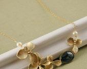 London Blue Topaz Necklace, 22k Gold Vermeil Orchid, Freshwater Pearl, Topaz Bezel Connector Gold Filled Necklace, December Birthstone Topa