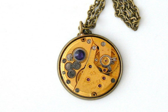 Steampunk Necklace, Steampunk Watch Necklace, Unisex Purple Necklace, Vintage Watch, Gold Steampunk Jewelry by pennyfarthingdesigns on Etsy