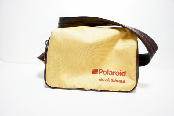 Vintage Golden Yellow with Brown Trim Soft Polaroid Camera Carry Case