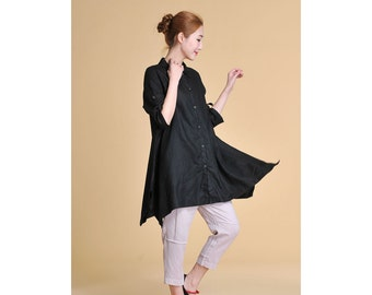 Free Style Linen Long Blouse with Asymmetrical Hems/ 28 Colors/ RAMIES