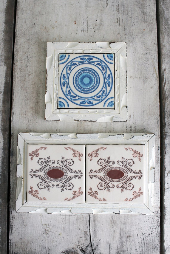 Pair of vintage mexican tile trivets