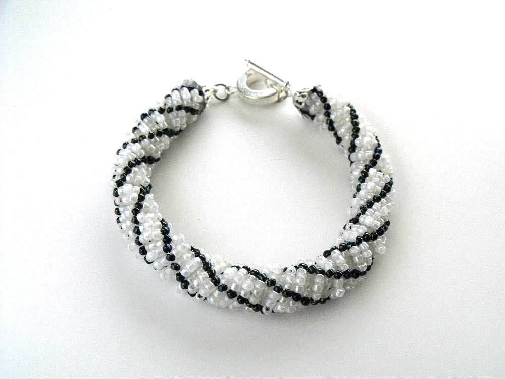 teal blue and white bracelet bead woven beaded jewelry seed