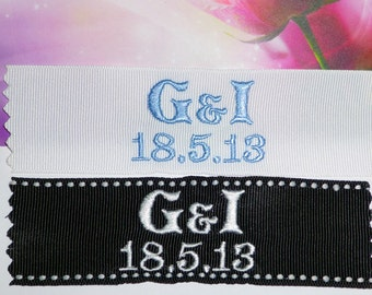 Personalized Ribbon Labels  by Natalia Sabins Custom Embroidered