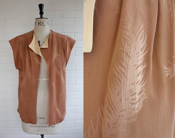 Vintage 1970s Designer Silk Jacket Size UK 14 EU 40
