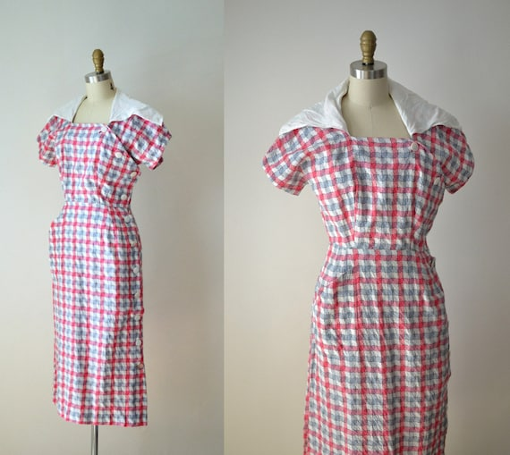 1940s Sailor Collar Dress / 40s Cotton Dress