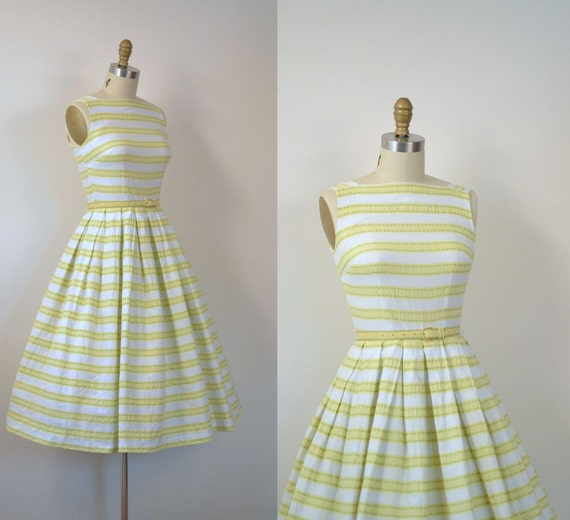 Reserved 1950s Striped Cotton Dress / 50s Sundress Reserved