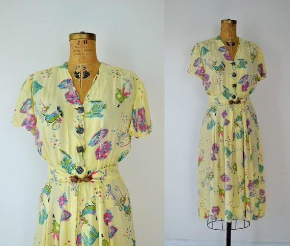 1930s Novelty Print Dress / 30s  Cotton Day Dress