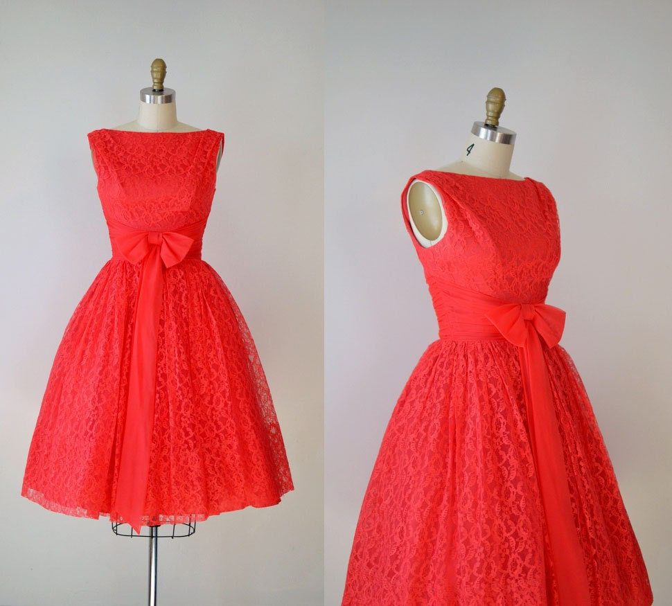 1950s Red Lace Dress / 50s Party Dress