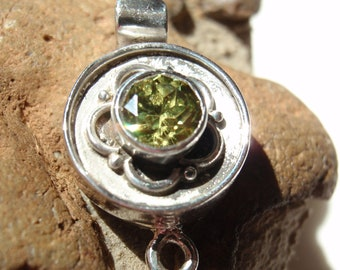 Sterling Silver Box Clasp Round Olive Green CZ Qty. 1