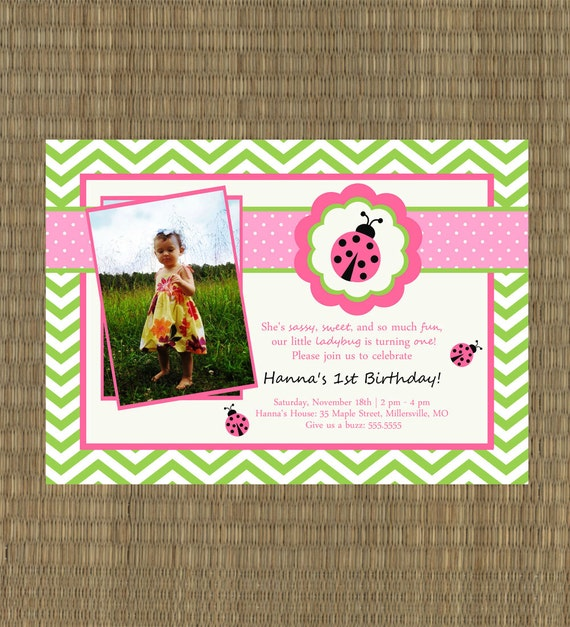 Ladybug Birthday Party Invitations Pink And Green Girl's