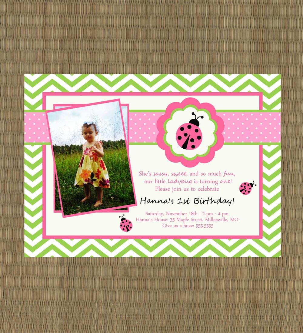 Ladybug Birthday Invitation Girls Printable By