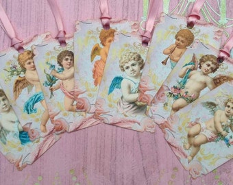 Vintage Cherubs with Flowers Gift Tags set of 8  No.391