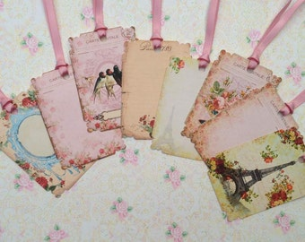 French Postcards Gift Tags set of 8 No.413
