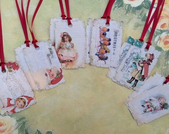 Compliments of the Season CHRISTMAS Gift Tag set of 12 No.55