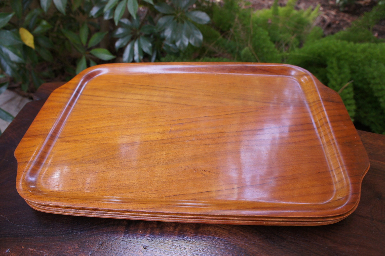 set of four serving trays 1950s tv dinner trays organizers. Black Bedroom Furniture Sets. Home Design Ideas