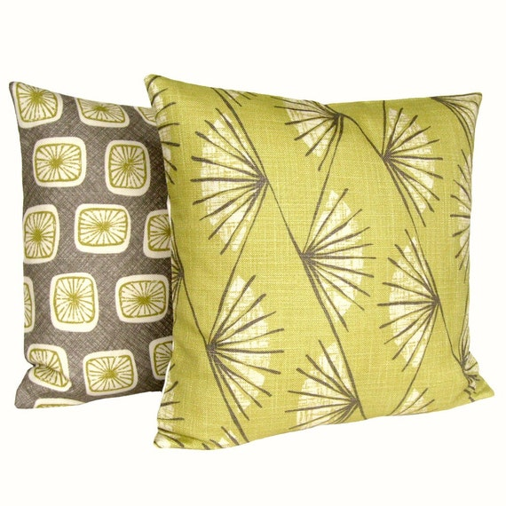 Designer Throw Pillow Cover, Cushion Cover, Pillow Sham - Abstract Fan Chartreuse