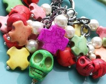 Halloween Skull Day of the Dead Charm Bracelet