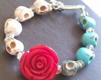 Day of the Dead Red Rose and Sugar Skull Bracelet Halloween jewelry
