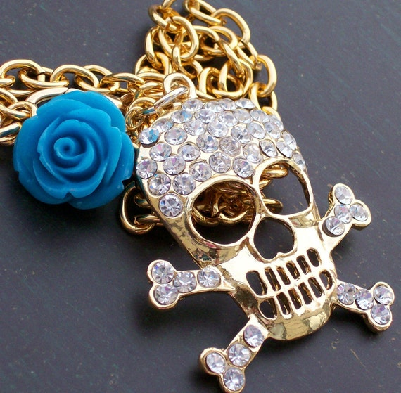 Sugar Skull and Rose Necklace