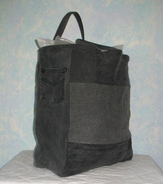 Shopping Bag Repurposed Black Denim Reusable