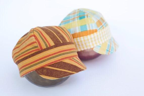 newborn BOY fabric reversible oxford HAT  - photography prop - orange, brown, green, gold, teal, yellow