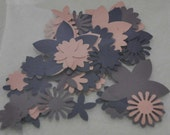 Die Cut Flowers and Hearts for Paper Crafts, Pink, Plum and Eggplant colours