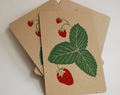 Strawberry Screen printed Postcards