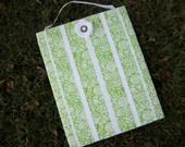 Hair Bow Board Organizer: Green & White Satin Ruffles with optional hooks (16 x 20)