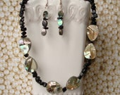 Black Shell Necklace, Black Stone Jewelry, Mosaic Necklace with Paua Shell Beads