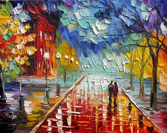 o PRINT on Canvas of Original Cityscape Painting By Marchella Red Blue Sky Rainy Reflection Couple Love Modern Home decor