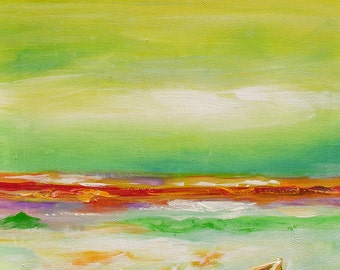 Original Painting Palette Knife oil on canvas impasto Colorful Sky Bright Sunny Abstract Orange Green Sand Boat texture ART by Marchella