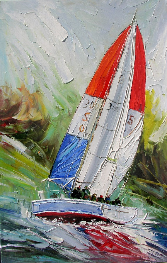 ORIGINAL Oil Painting on canvas Sea Reflections Palette Knife Seascape Boat White Red Blue Colorful Wave ready to hang big ART by Marchella