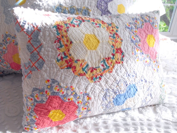 Beautiful Handmade Grandma's Flower Garden And Vintage Chenille Country Style Pillow