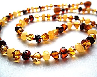 Multicolor  Genuine  Baltic  Amber  Necklace Choker  18.9 inches.
