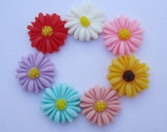 Flower Cabochons Resin Flowers 50pc mixed color resin Sunflower charms--16mm