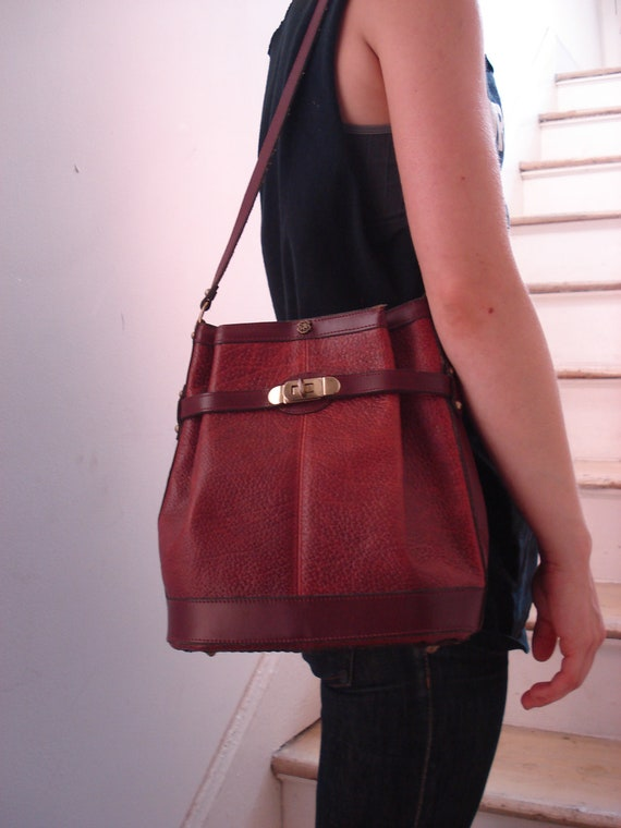 Vintage Cherry Leather Bucket Bag