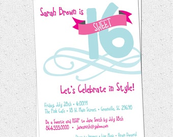 Sweet 16 Sixteen Birthday Party Invitation, Printable, Modern Typography Poster Style, DIY digital file