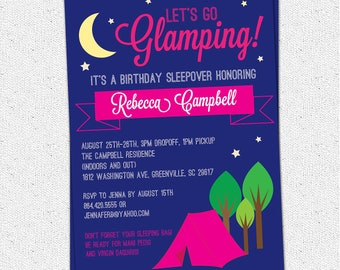 Glamping Invitation, Glam Glamour Camping Birthday, Bachelorette, Girl, Printable, DIY Digital File