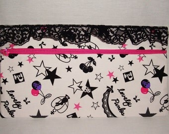 READY TO SHIP - Lolita Skulls, Stars, Cherries and Lace Lovely Punks Large Clutch Purse