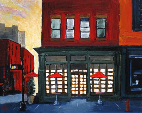 New York City Restaurant Original Acrylic Painting (8x10)