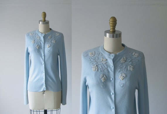 vintage 1950s cardigan / 50s sweater / beaded cardigan