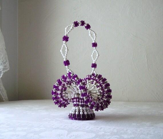 vintage bead basket - handmade safety pin art - purple and white