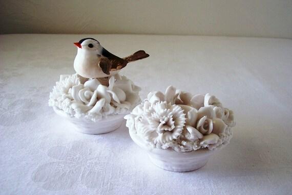 vintage white china candle holder basket weave base set of two
