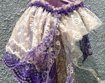 Gypsy Bustle Belt in Silver Purple Velvet and Ecru and Purple Lace