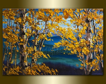 CUSTOM Original Autumn Birch Tree Forest Textured Palette Knife Landscape Painting Oil on Canvas Seasons 24X36 by Willson